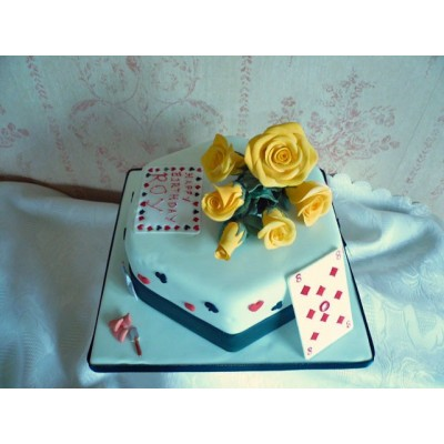 Deck of Cards Cake with Yellow Flowers