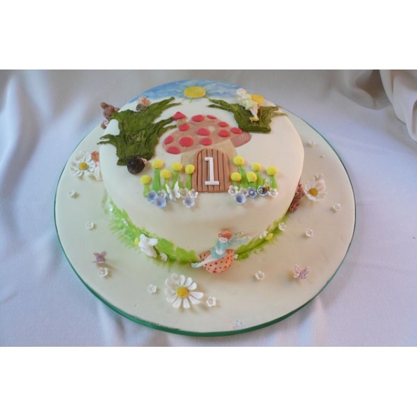 Fairy Them Birthday Cake With Flowers