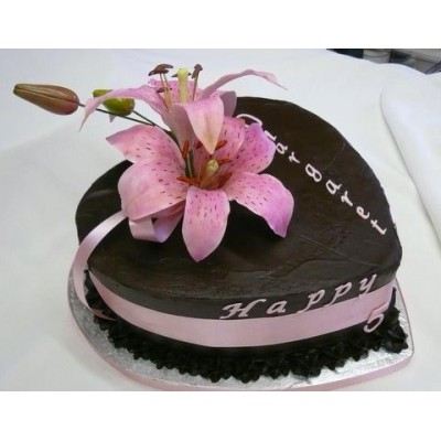 Elegant Black Cake with Pink Ribbon and Flower