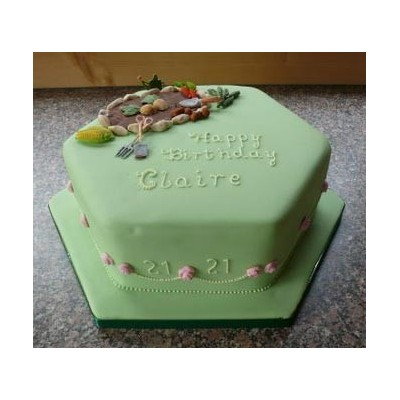Green Garden Themed Cake