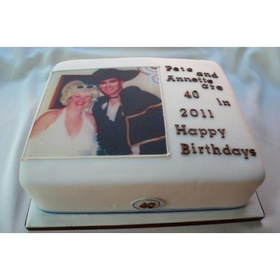 Square cake with Photo and Text