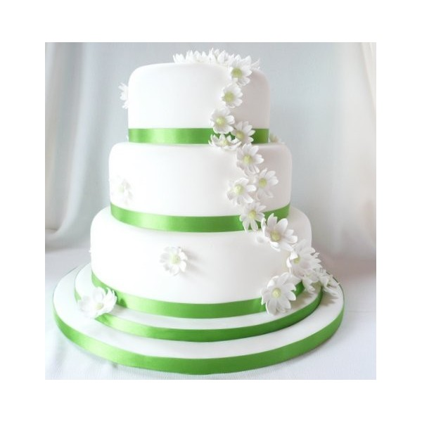 Green And White Wedding Cake With Three Tiers And Flowers Celebration Cakes