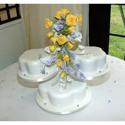 Elegant three piece cake with blue and yellow flowers
