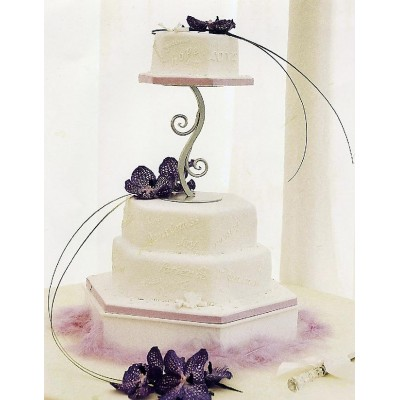 Stylish three tier cake with purple flowers and engraving text in the cake