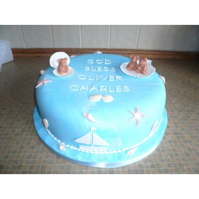 Blue sea theme Christening cake with figurines