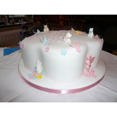 Girls Christening cake with teddy bears and butterfly figurines