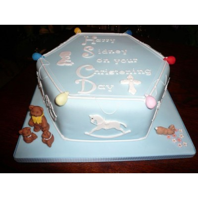 Hexagon blue cake with bears and rocking horse decoration