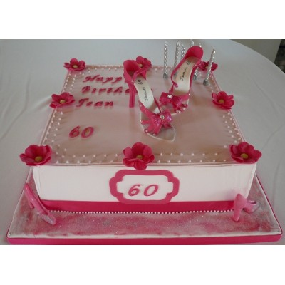 Pink and white 60th Birthday Cake