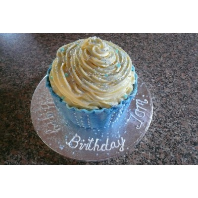 Large Birthday Cupcake with Blue Trimming