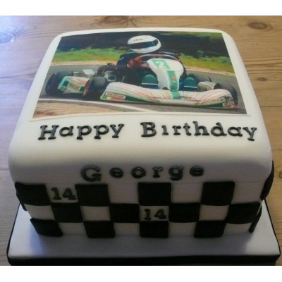 Go Kart Birthday Cake with Chequered Flag Design