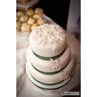 Three Tier Wedding Cake with Sugar Flowers