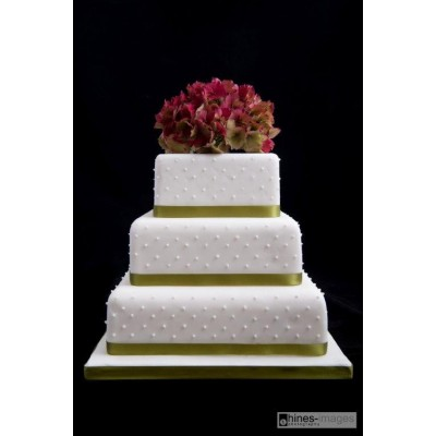 Flower topped Three Tier Cake