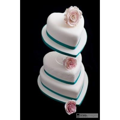 Heart Shaped Three Tier Wedding Cake