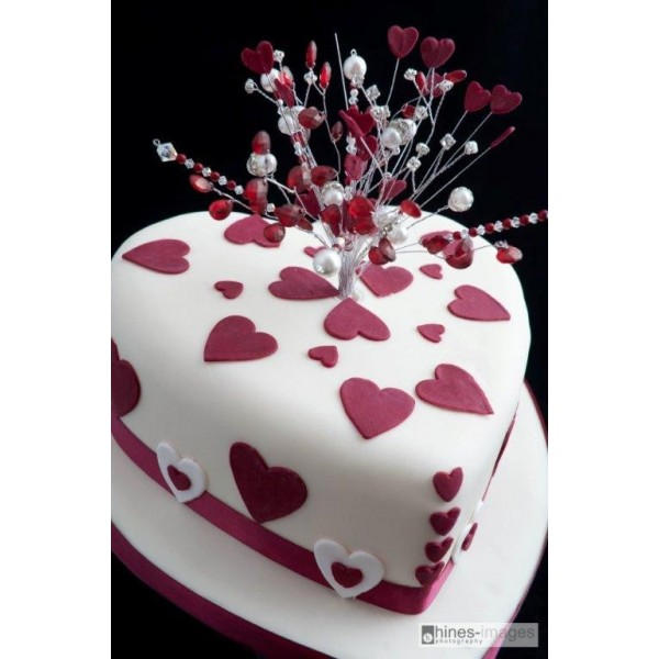 Heart Shaped Wedding Cake With Crystal Topper Celebration Cakes By Carol