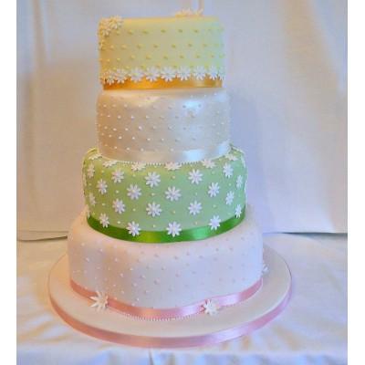 Multi coloured tier Cake