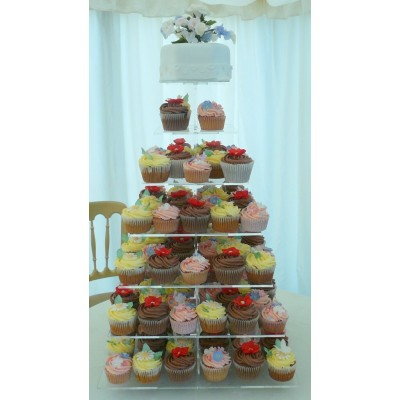 Wedding cake with Tower of Cupcakes