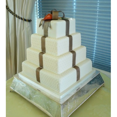 4 Tier Square cake with Bow and Rose