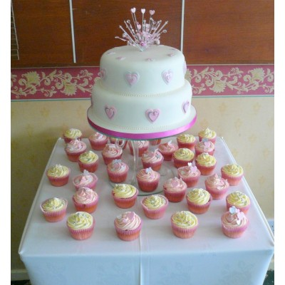 2 Tier Cake with Pink Hearts and Cupcakes