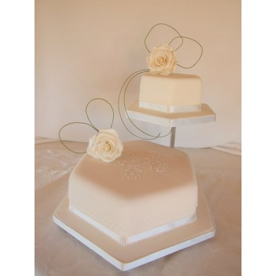 Cream Two Tier Wedding Cake with Flowers