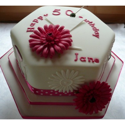 50th Birthday Cake With Flowers