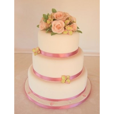 3 tier cake with hand made sugar roses and hydrangeas.