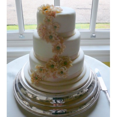 3 Tier Cake with Coffee colour flowers