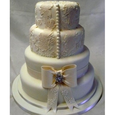 Four Tier Cake with Lace and Button Detail