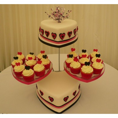 Two Tier Heart Cake with Cup Cakes in Cerise Pink and Black