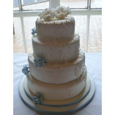 Four Tier Wedding Cake with Lace Trim