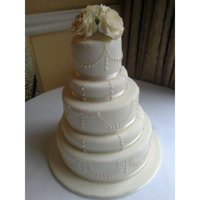 5 Tier Beaded Wedding Cake with Sugar Roses