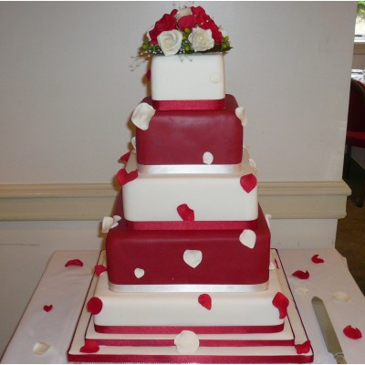Red and Ivory 5 Tier Petal Cake