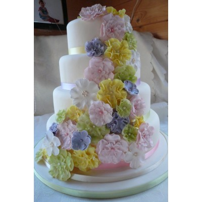 4 Tier flower waterfall cake