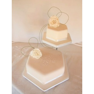 Simple two tier wedding cake with flower toppers