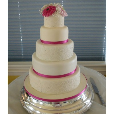 5 Tier Cake With Lace Detail To 3 Tiers