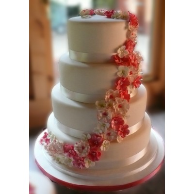 4 Tier Cake With Blossom Flowers