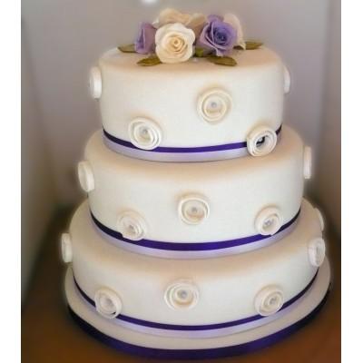 3 Tier Oval Cake With Swirls