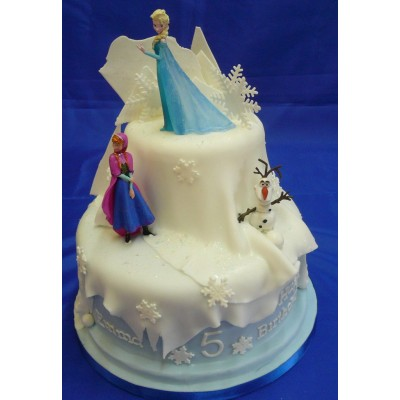 Frozen Cake With Silicone Disney Figures - Celebration Cakes by Carol