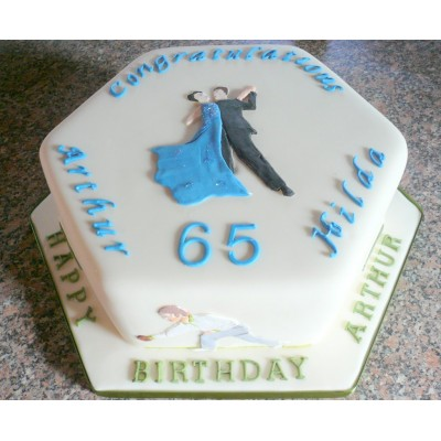Combined Anniversary And Birthday Cake With Dancing And Bowling Motif