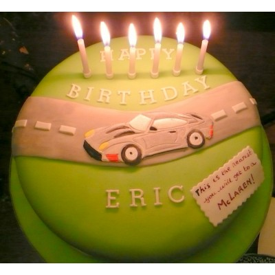 Birthday Cake With Sports Car Motif