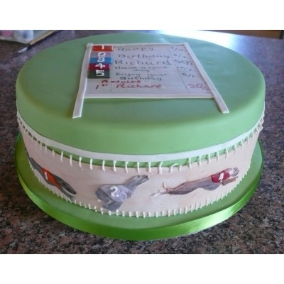 Grey Hound And Racing Themed Cake