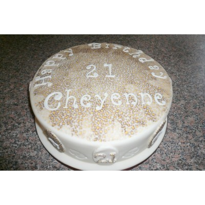 10in Cake With Leopard Print Icing And Animal Motifs To Side