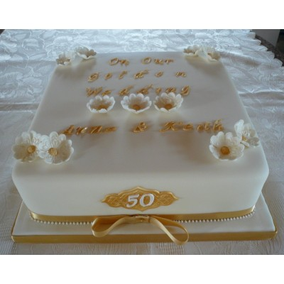 "10"" Square Golden Wedding Cake"