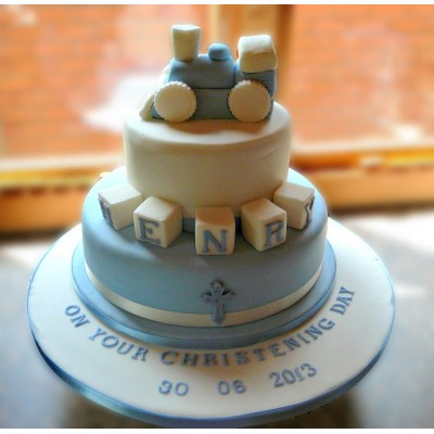 2 Tier Christening Cake with Train