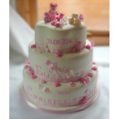 3 Tier Christening Cake with Roses