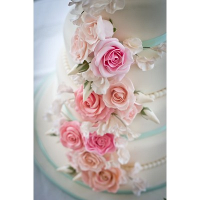4 Tier Cake With Hand Made Sugar Roses And Sweet Peas