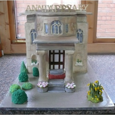 Replica of Chapel for Golden Wedding Cake