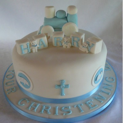 Christening Cake decorated with Train