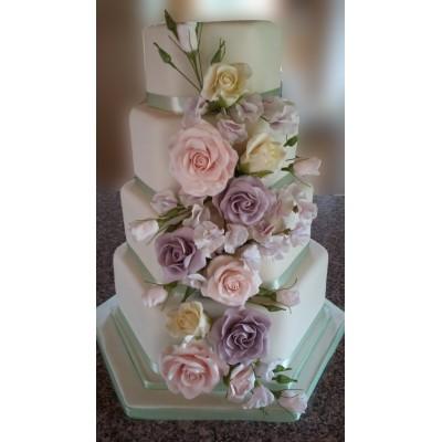 4 Tier Hexagonal Cake