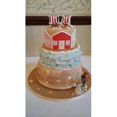 Seaside themed cake in 3 tiers