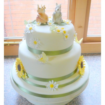 2 tier sponge cake with daisies and sunflowers
